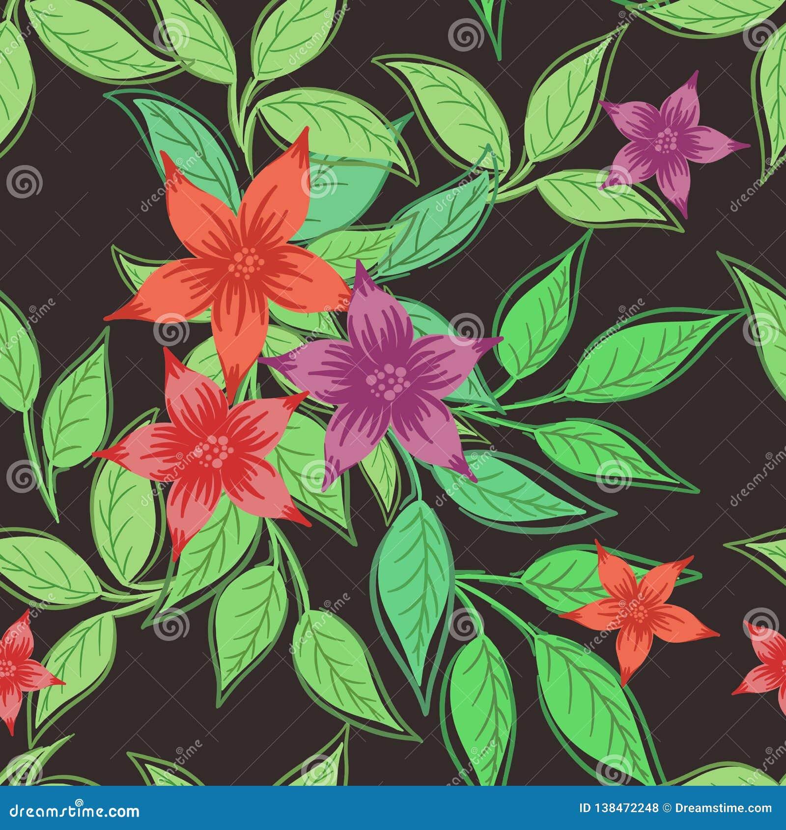 Stampa senza cuciture con i fiori e le foglie su un fondo grigio scuro