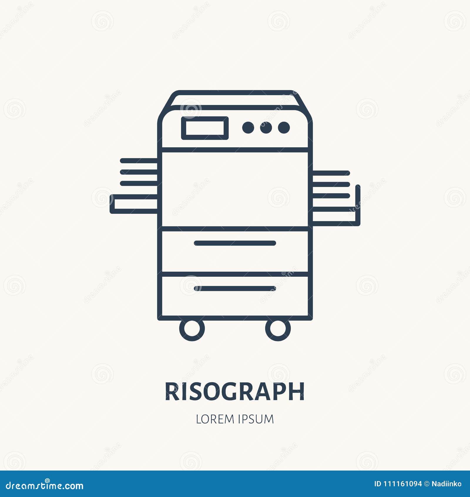 Stampante di risograph con la linea piana di carta icona for Mobile per stampante ufficio