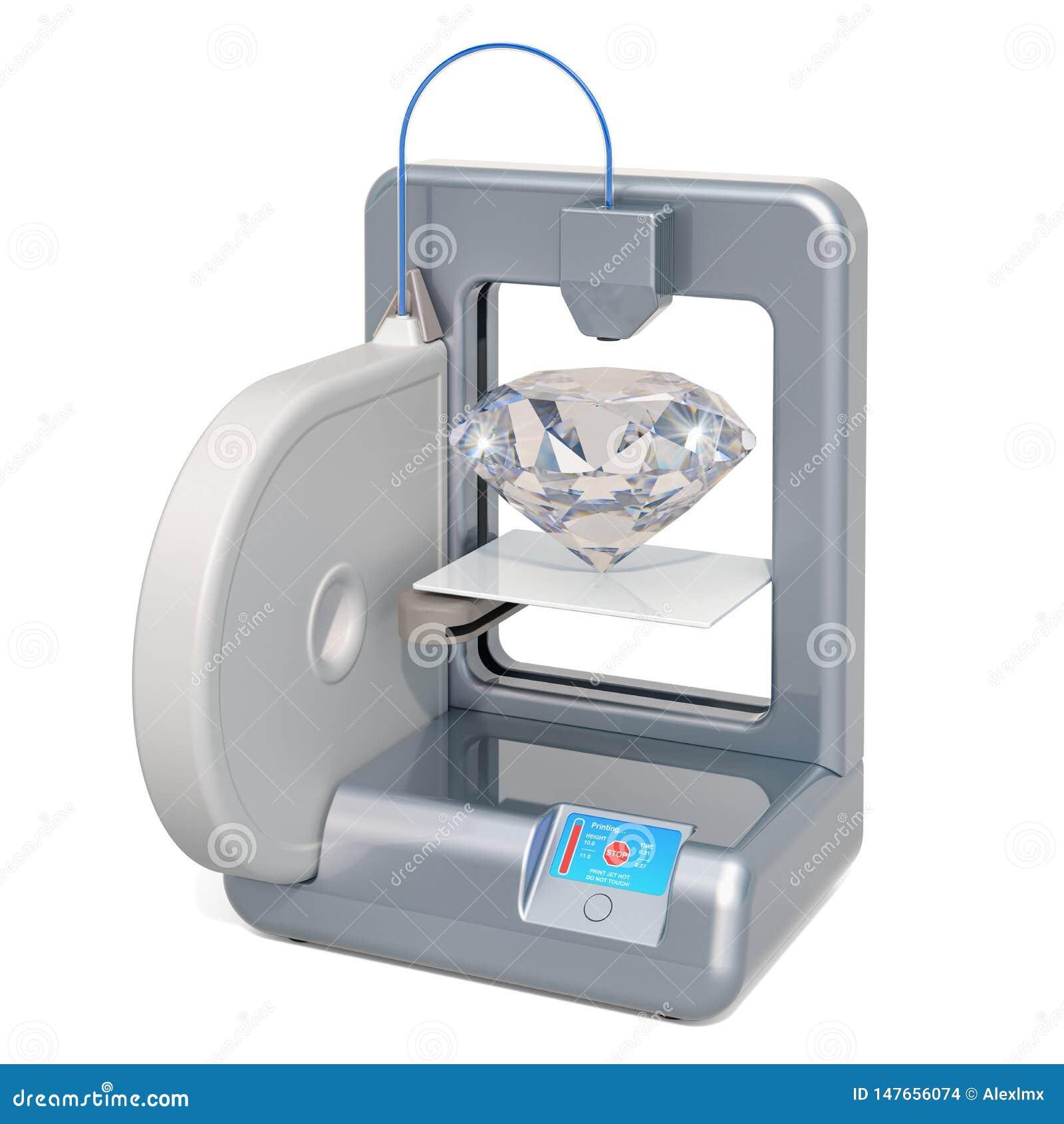 Stampante tridimensionale con il diamante, rappresentazione 3D