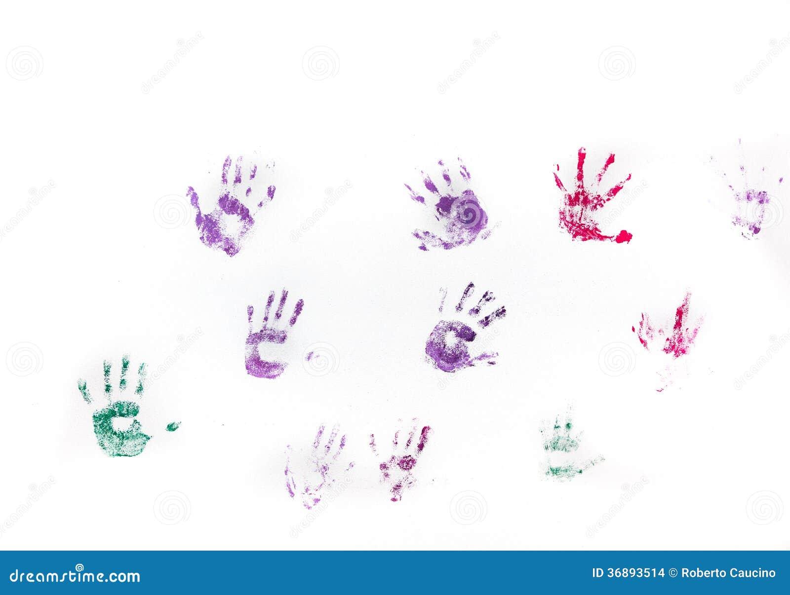Download Stampe Della Mano Dei Bambini Sulla Parete Bianca Fotografia Stock - Immagine di organizzazione, viola: 36893514