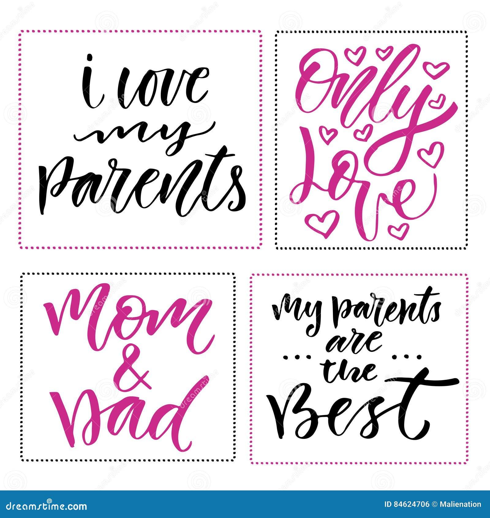 Stampe Felici Di Giorno Della Famiglia Insieme Delle Frasi