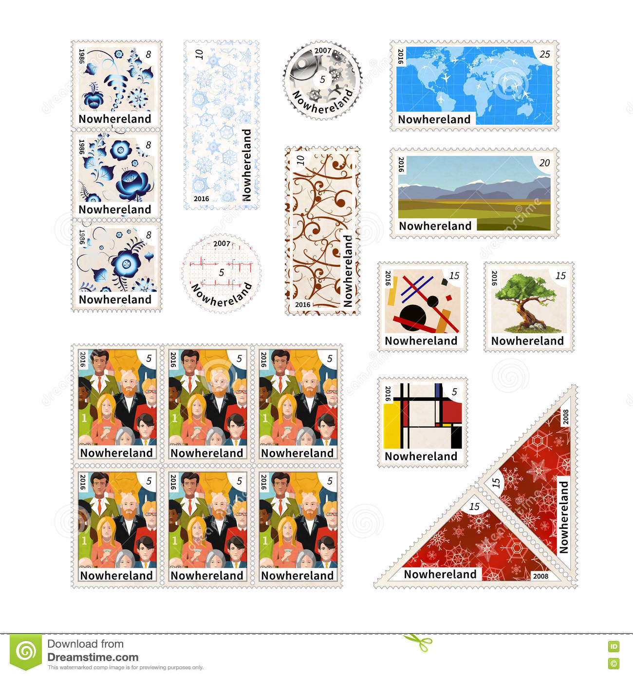 Stamps With Illustrations And The Price Of An Imaginary
