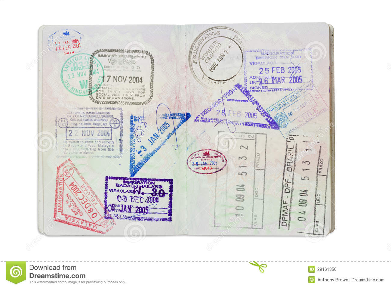 35cce14f7 Royalty-Free Stock Photo. Stamps inside a UK Passport with clipping path