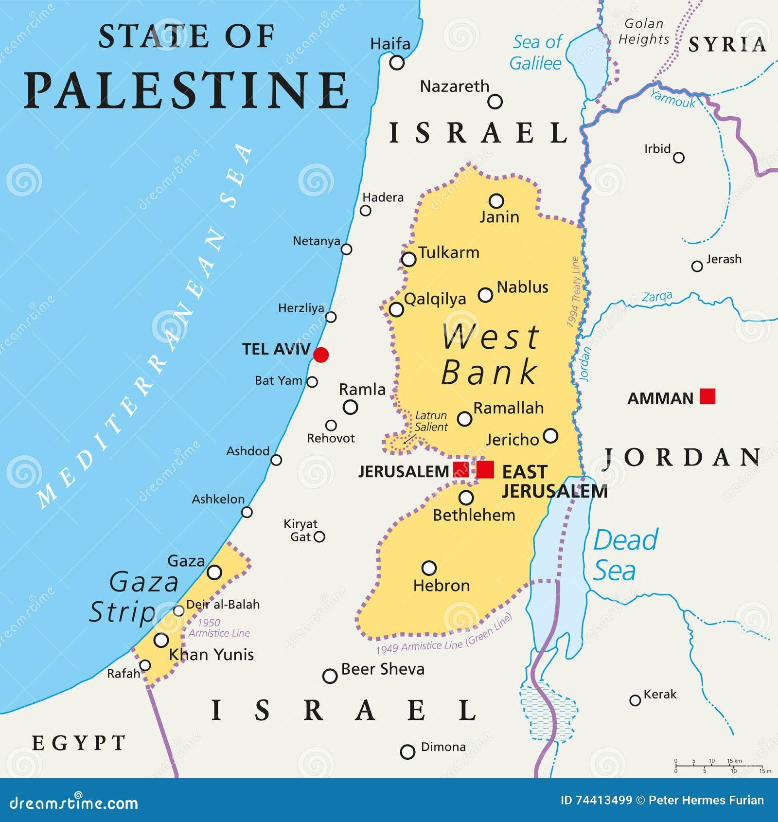 Stan Palestyna Polityczna Mapa Ilustracja Wektor Ilustracja