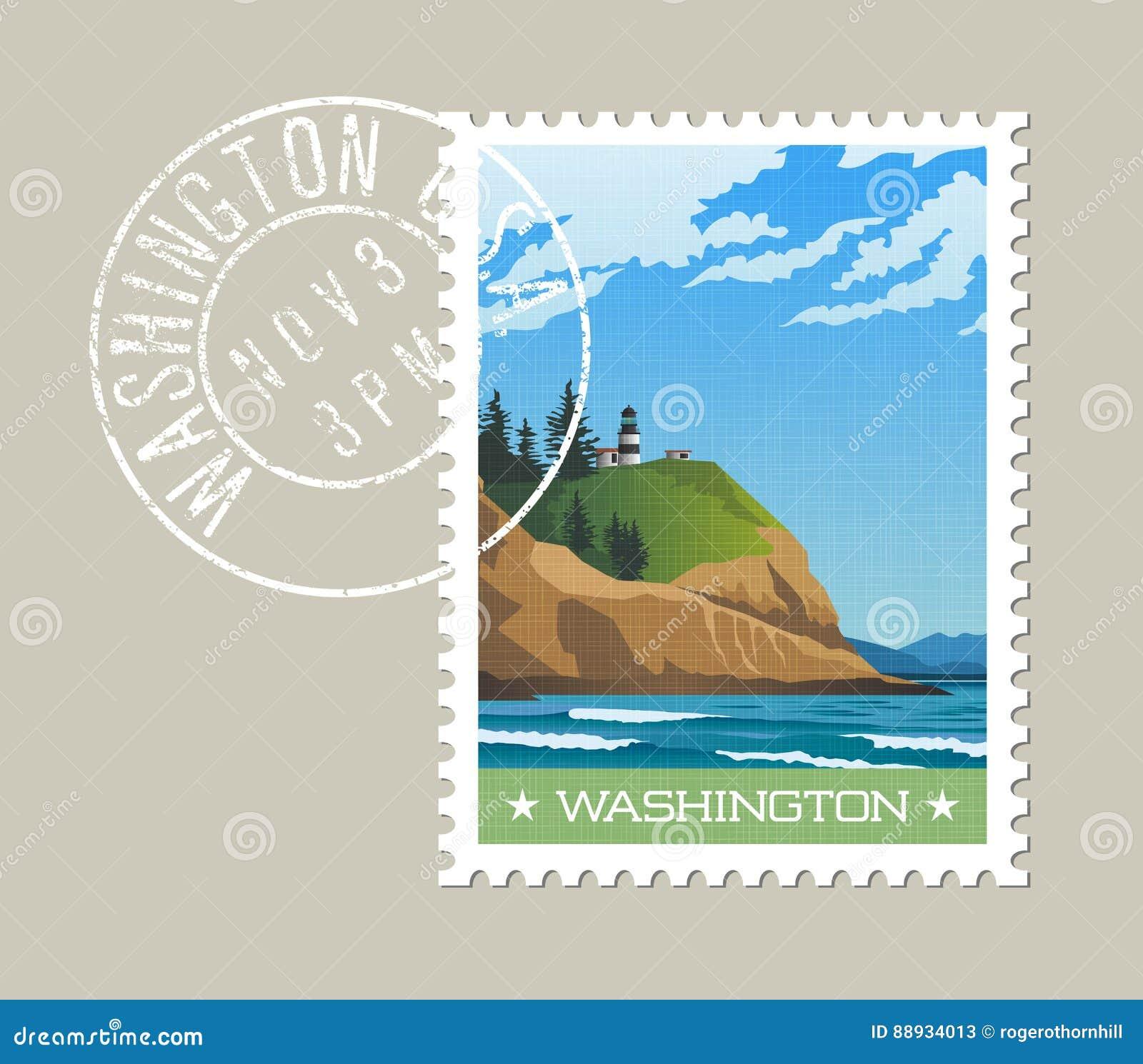 Stan Washington znaczka pocztowego projekt niewygładzona linia brzegowa i latarnia morska