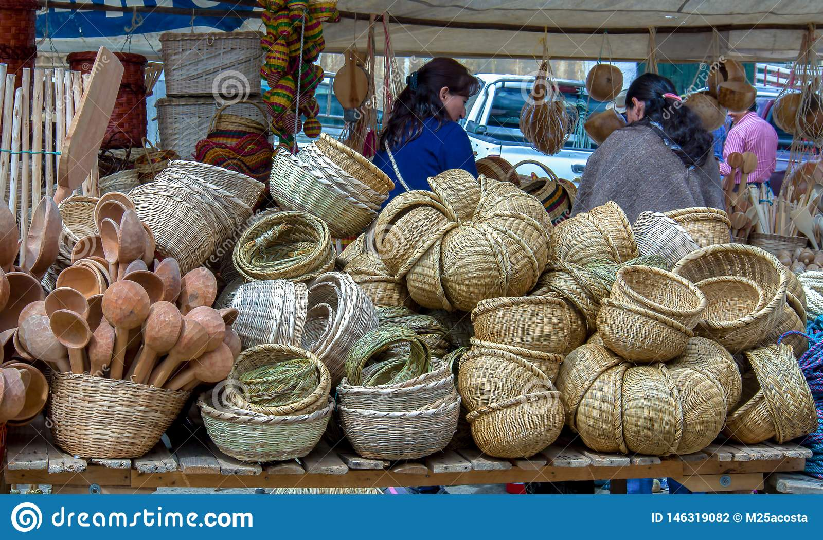 Stand of handcrafted baskets at a market