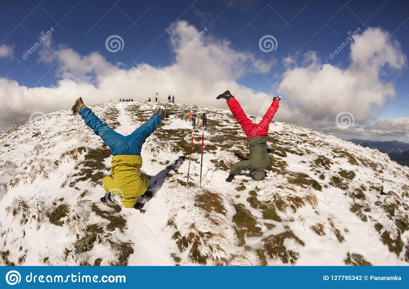Stand on the head on top of the Carpathians