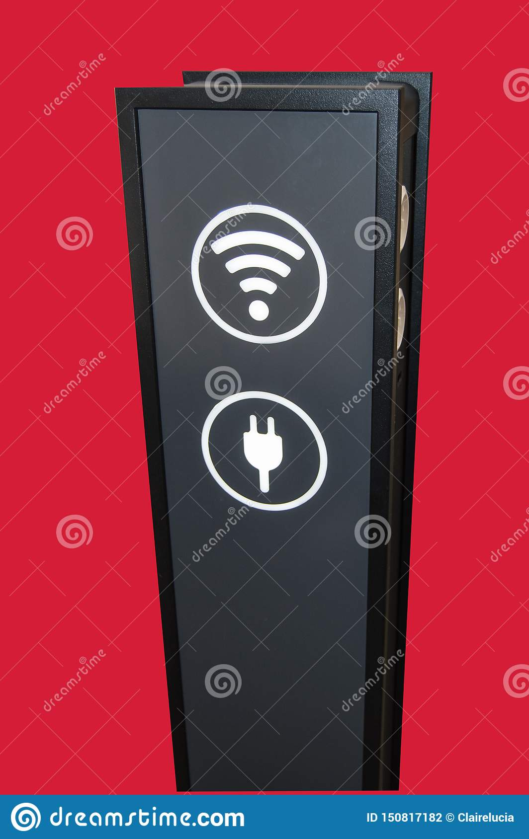 Stand tower for charging mobile phones in shopping Mall, wifi zone sign isolated on red background by clipping, vertical shot