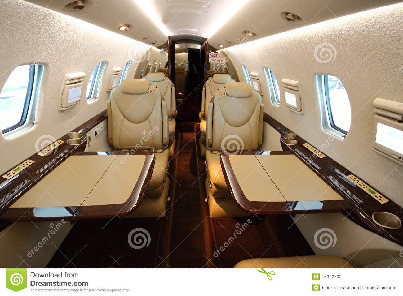 Stand Up Aircraft Cabin With Open Tables Stock Photos