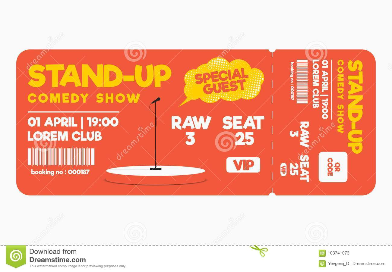 Stand Up Comedy Show Ticket On White Background. Ticket Template For ...