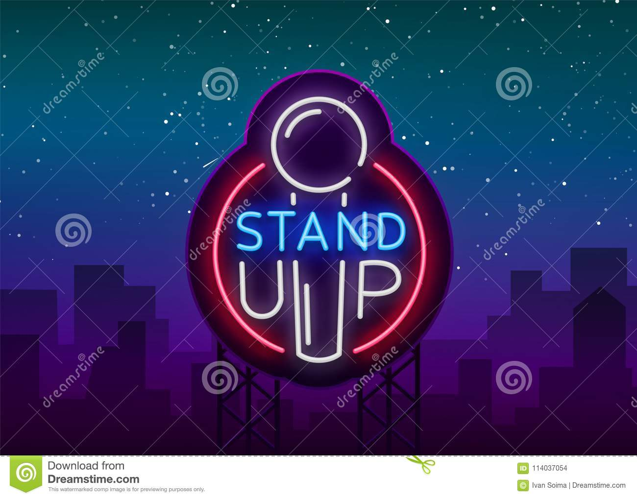 Stand Up Logo in Neon Style. Comedy show is neon sign, symbol, an invitation to a comedy performance, bright banner