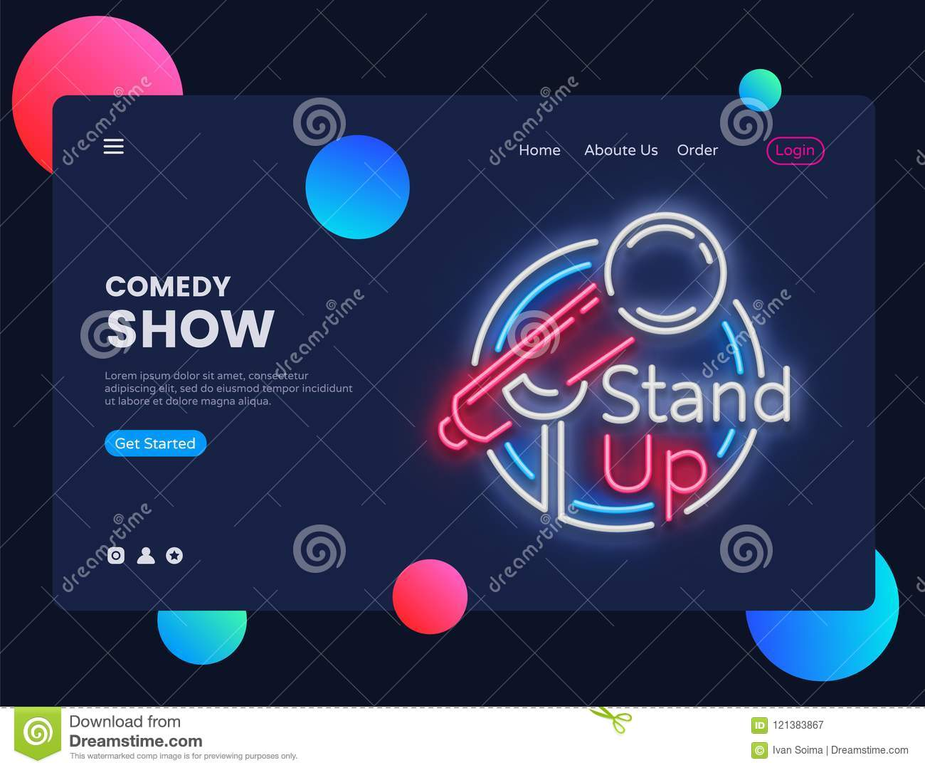 Stand Up Neon Creative Website Template Design. Stand Up Neon Sign ...