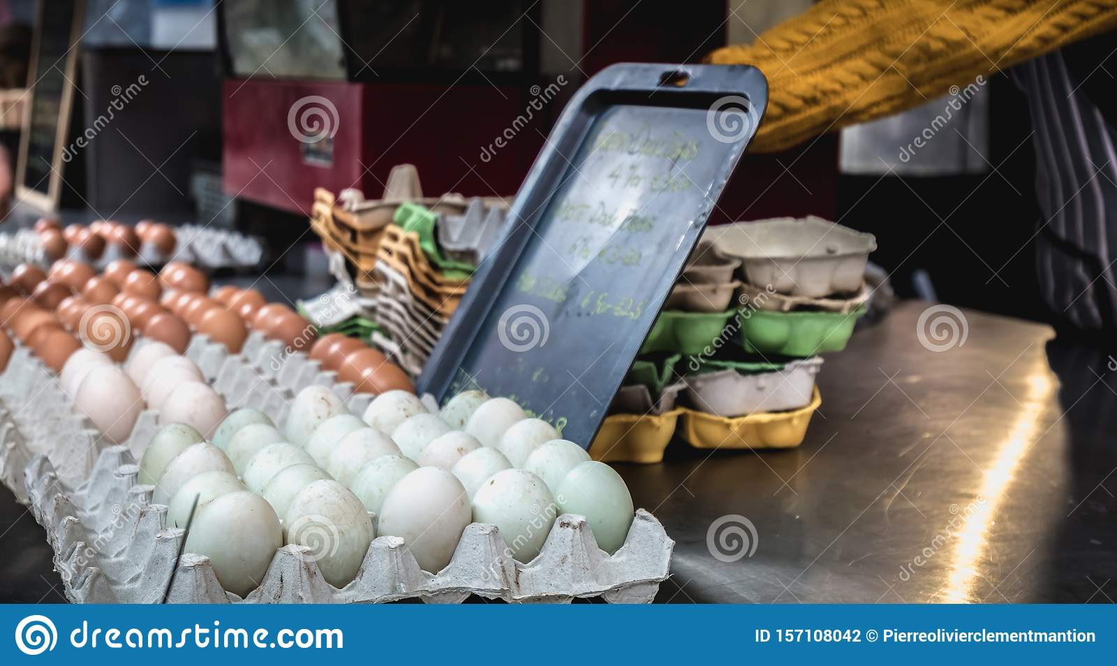 Stand of a vendor of eggs and farm products in the Temple Bar in Dublin, Ireland