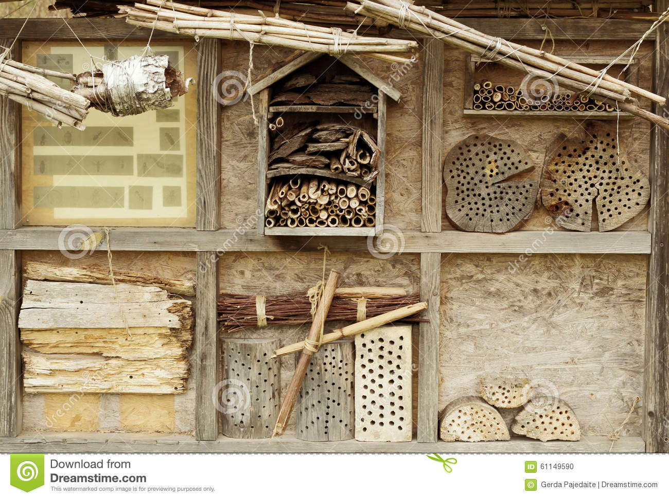 Stand of a wooden insects hotel stock photo image 61149590 for Decoration original