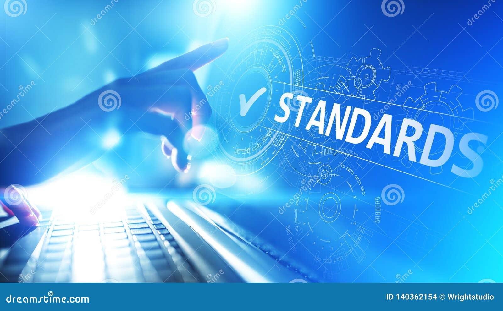 Standard Controllo di qualità Certificazione, assicurazione e garanzia di iso Concetto di tecnologia di affari di Internet