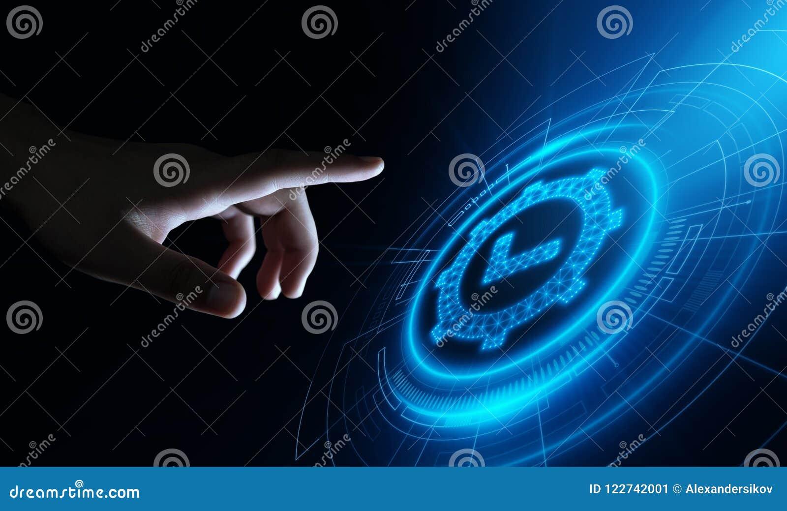 Standard - kontrola jakości certyfikata zapewnienia gwaranci technologii Internetowy Biznesowy pojęcie