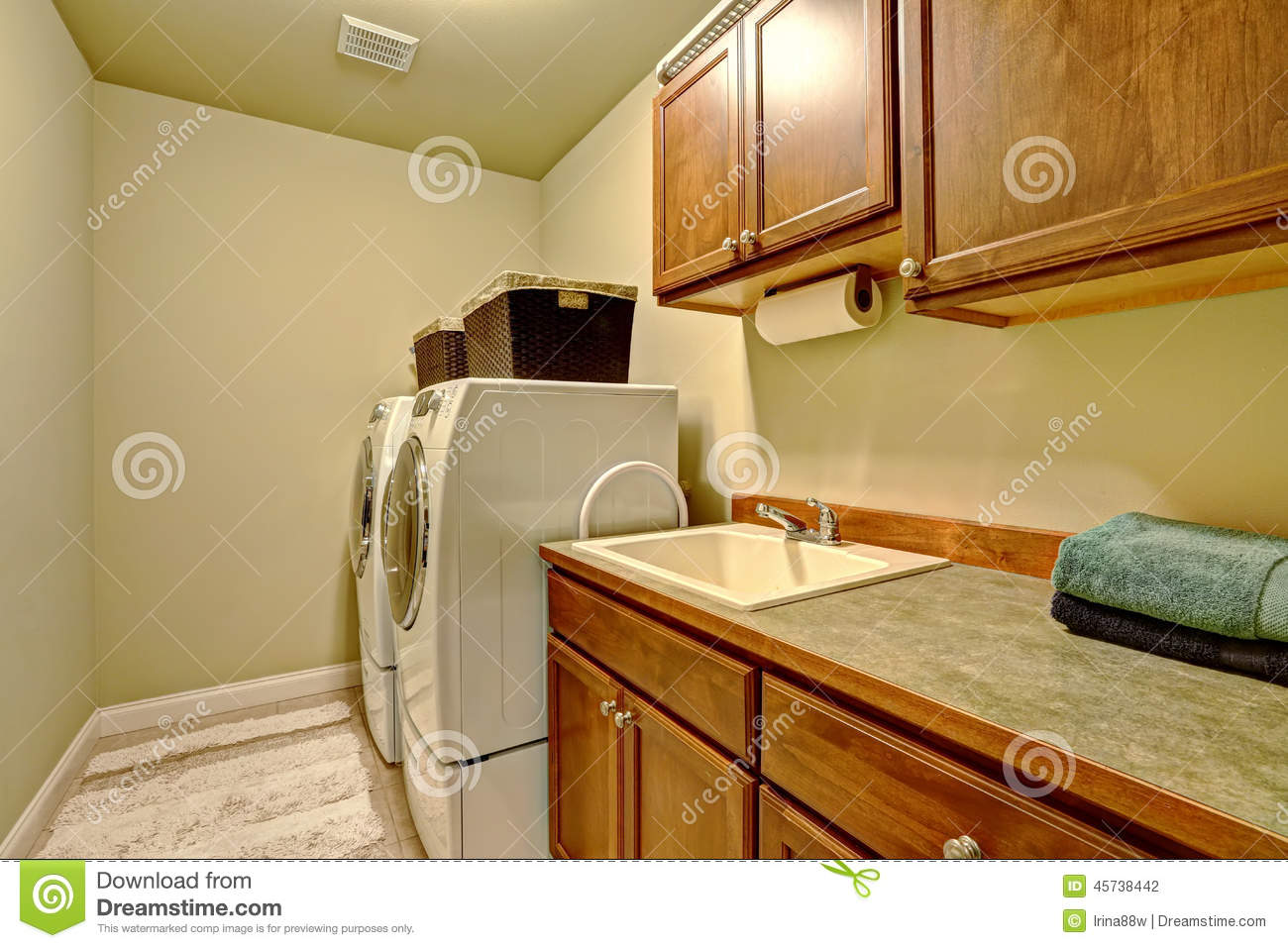 Standard Laundry Room Interior In American House Stock