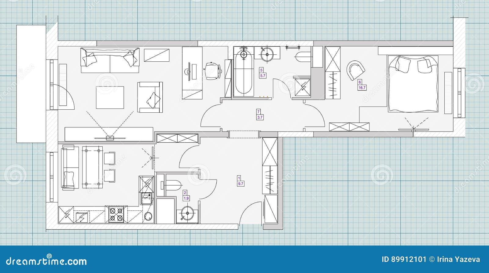 Standard Living Room Furniture Symbols Set Stock Vector