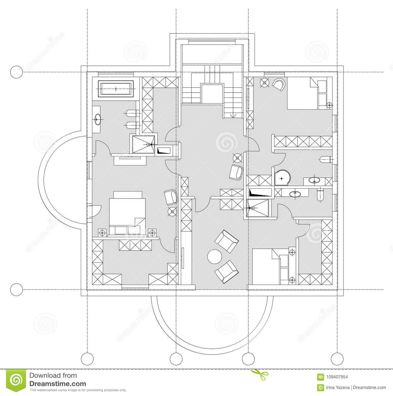 floor plan furniture symbols bedroom. Standard Home Furniture Symbols Set Used In Architecture Plans, Planning Icon Set, Graphic Design Elements. Small Privat House - Top View Plans. Floor Plan Bedroom B