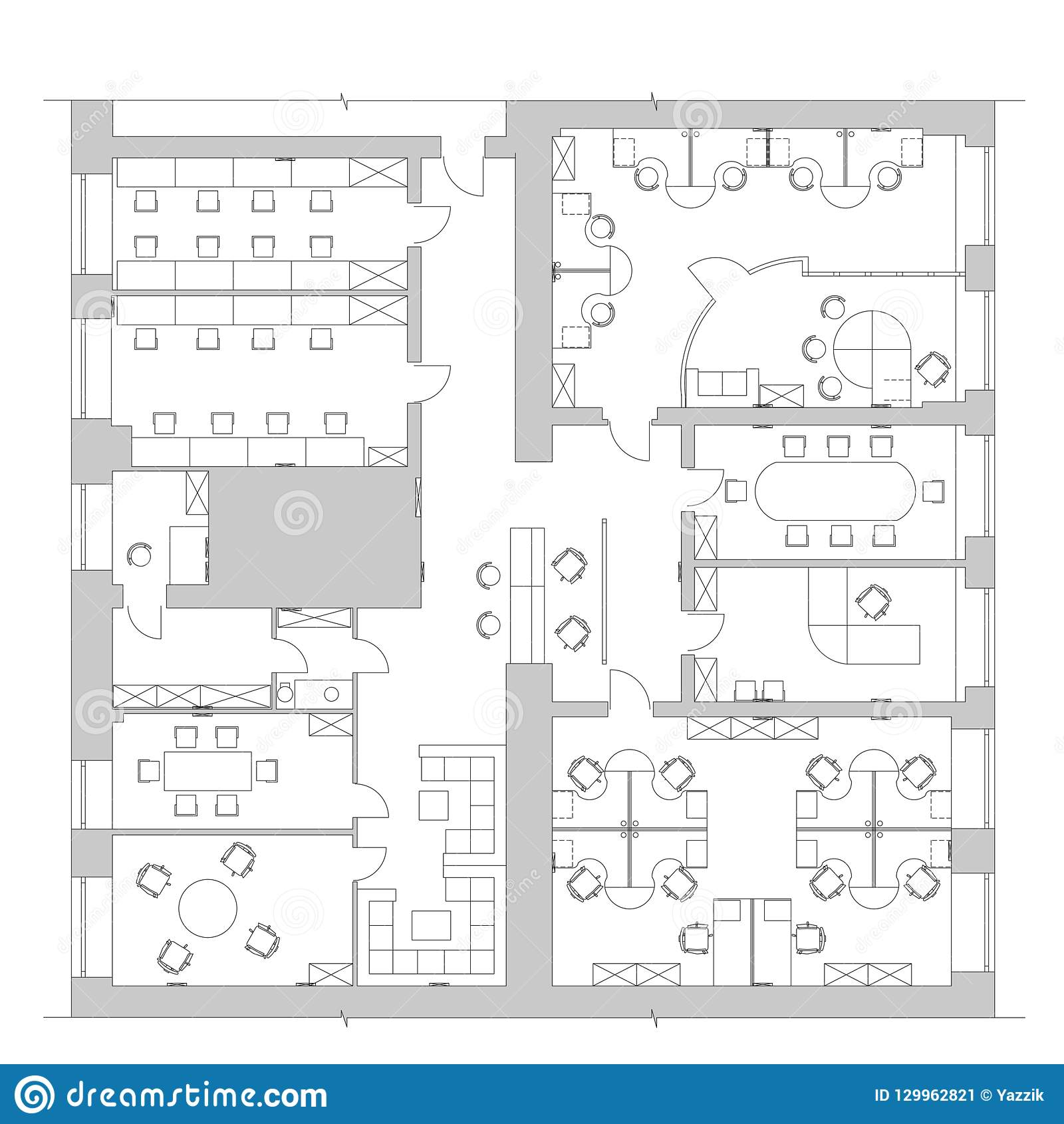 Standard Office Furniture Symbols On Floor Plans Stock ... on floor plans garage, floor plan for transportation company, electrical plan for warehouse, building plans for warehouse, floor plans retail,