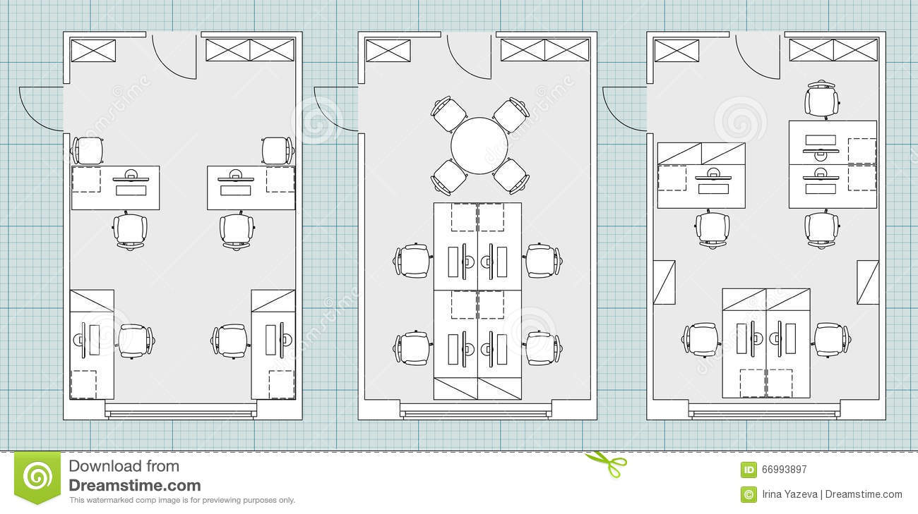 Standard office furniture symbols on floor plans stock for Free office layout design