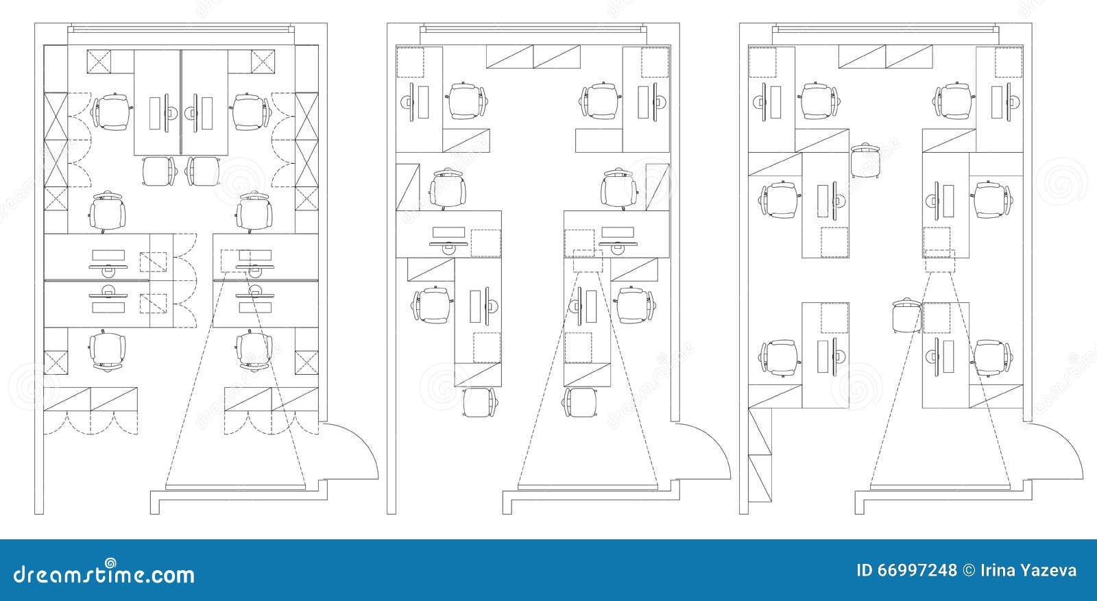 Standard office furniture symbols set vector illustration for Meuble architectural