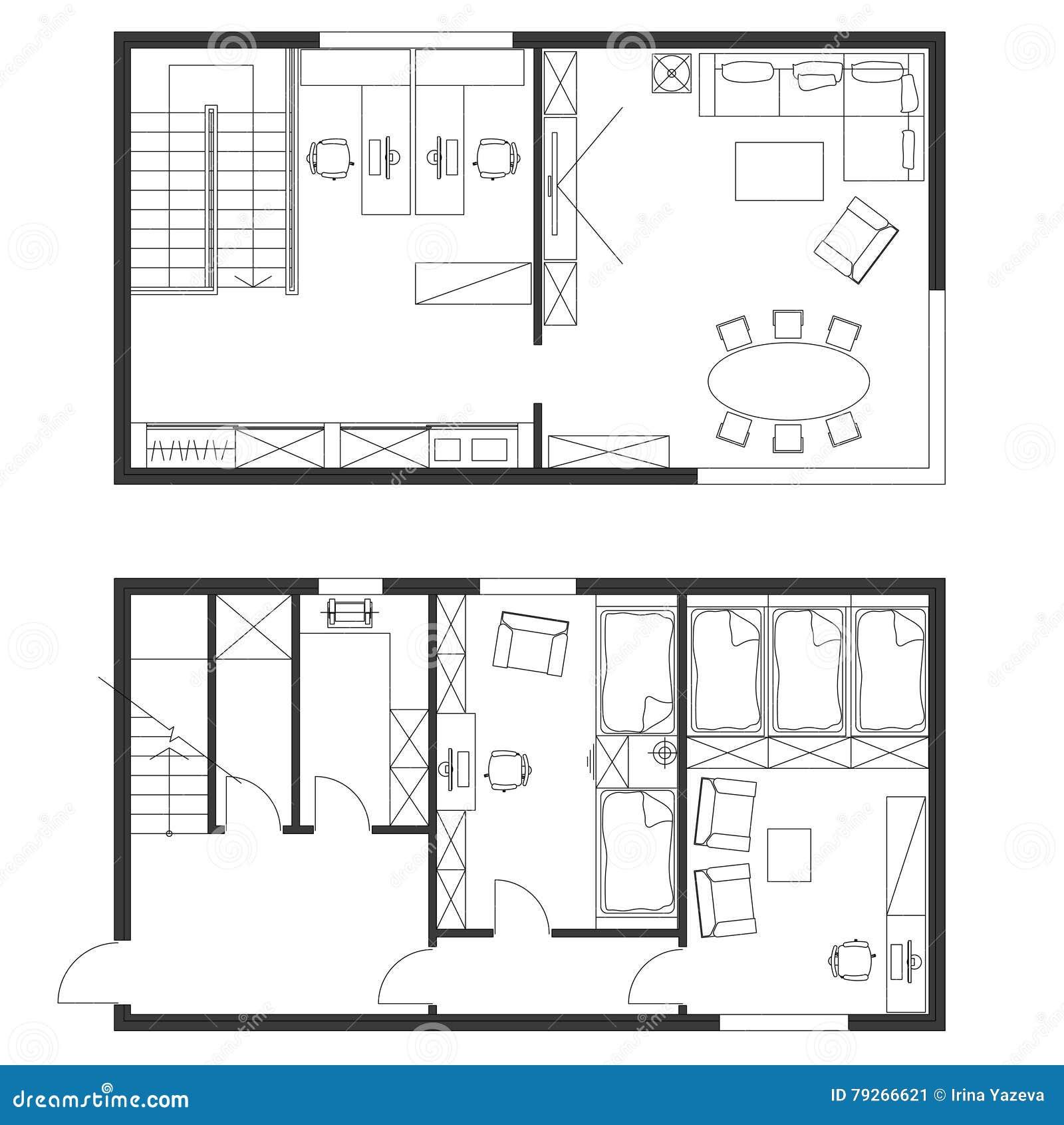 Standard office furniture symbols set stock vector for Web design blueprints