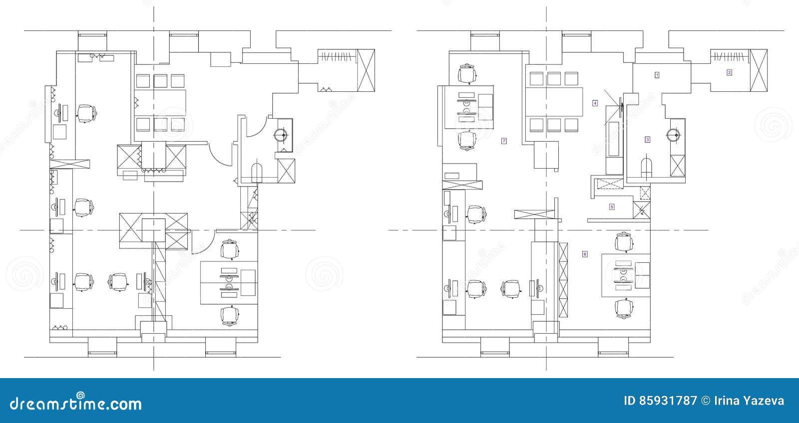 Office Furniture Symbols For Floor Plans: Standard Office Furniture Symbols Set Stock Vector