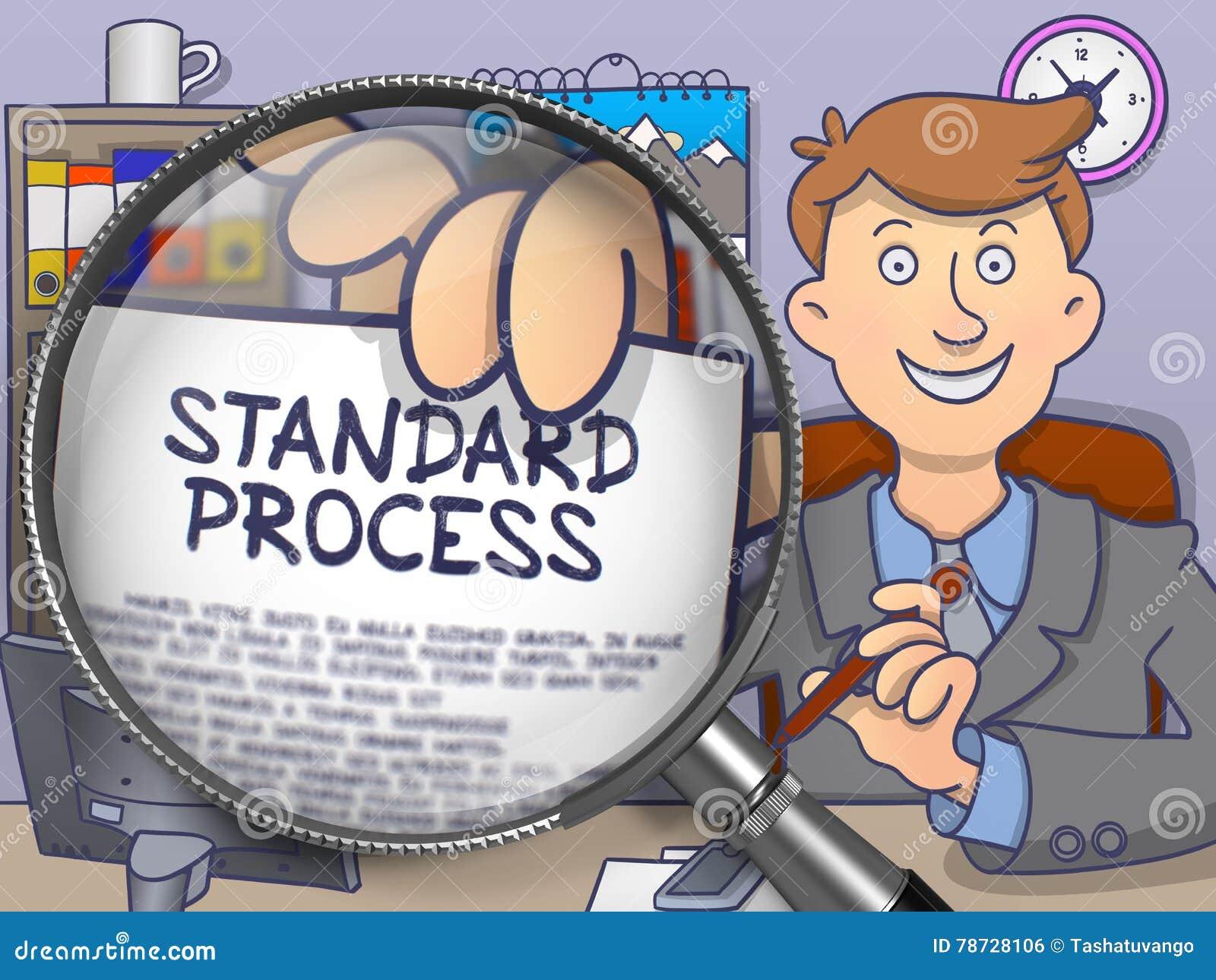 Standard process till och med förstoringsapparaten Klotterbegrepp