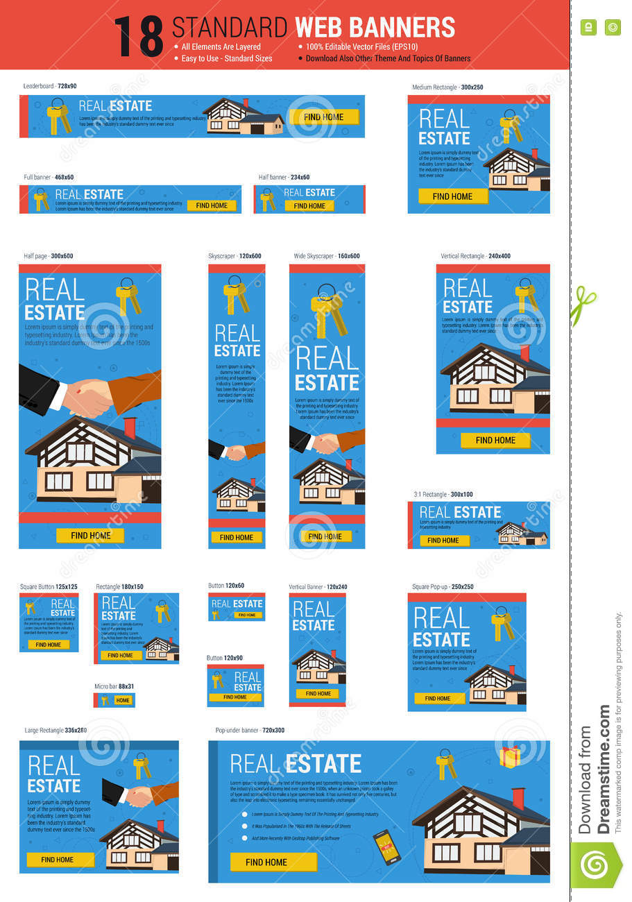 Standard Size Web Banners - Real Estate Stock Vector - Image: 74542613