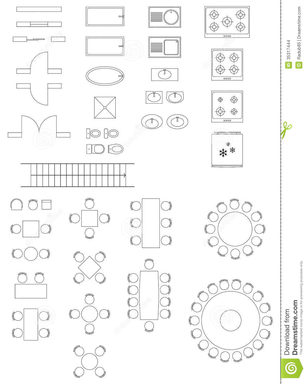 Standard symbols used in architecture plans stock vector standard symbols used in architecture plans malvernweather Images