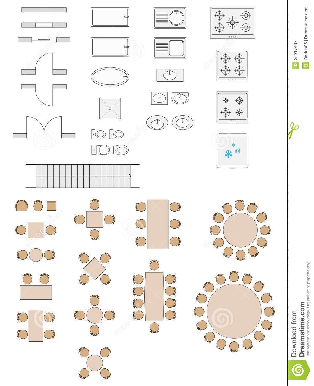 Standard symbols used in architecture plans stock vector for Architecte plan maison