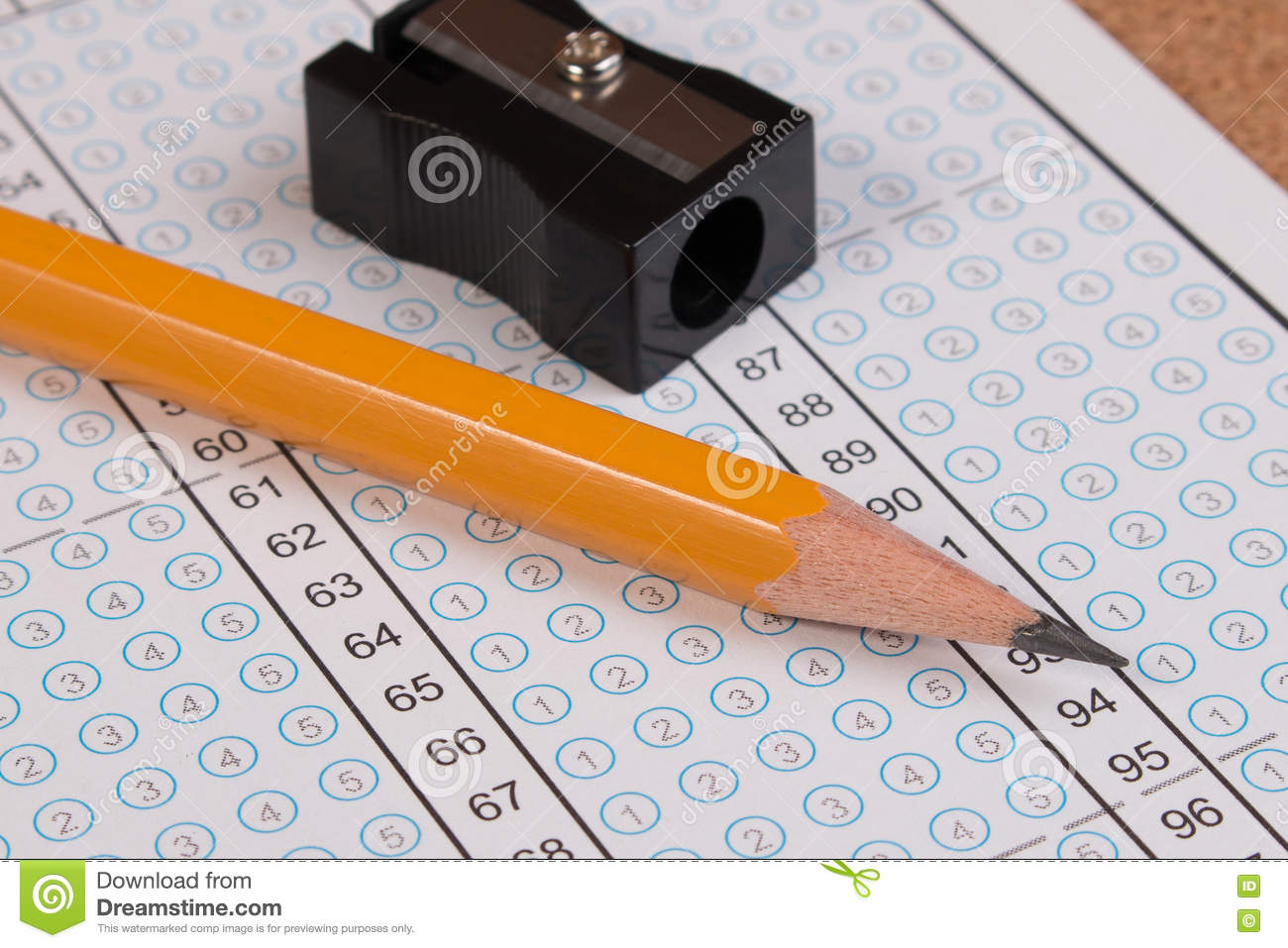 Standard test form or answer sheet. Answer sheet focus on pencil.