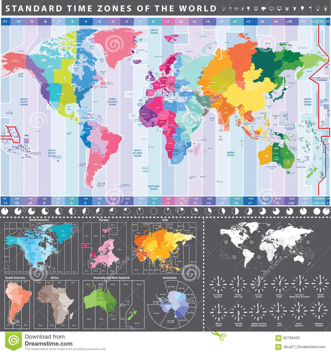 Standard Time Zones Of The World Map With Continents Separately ...