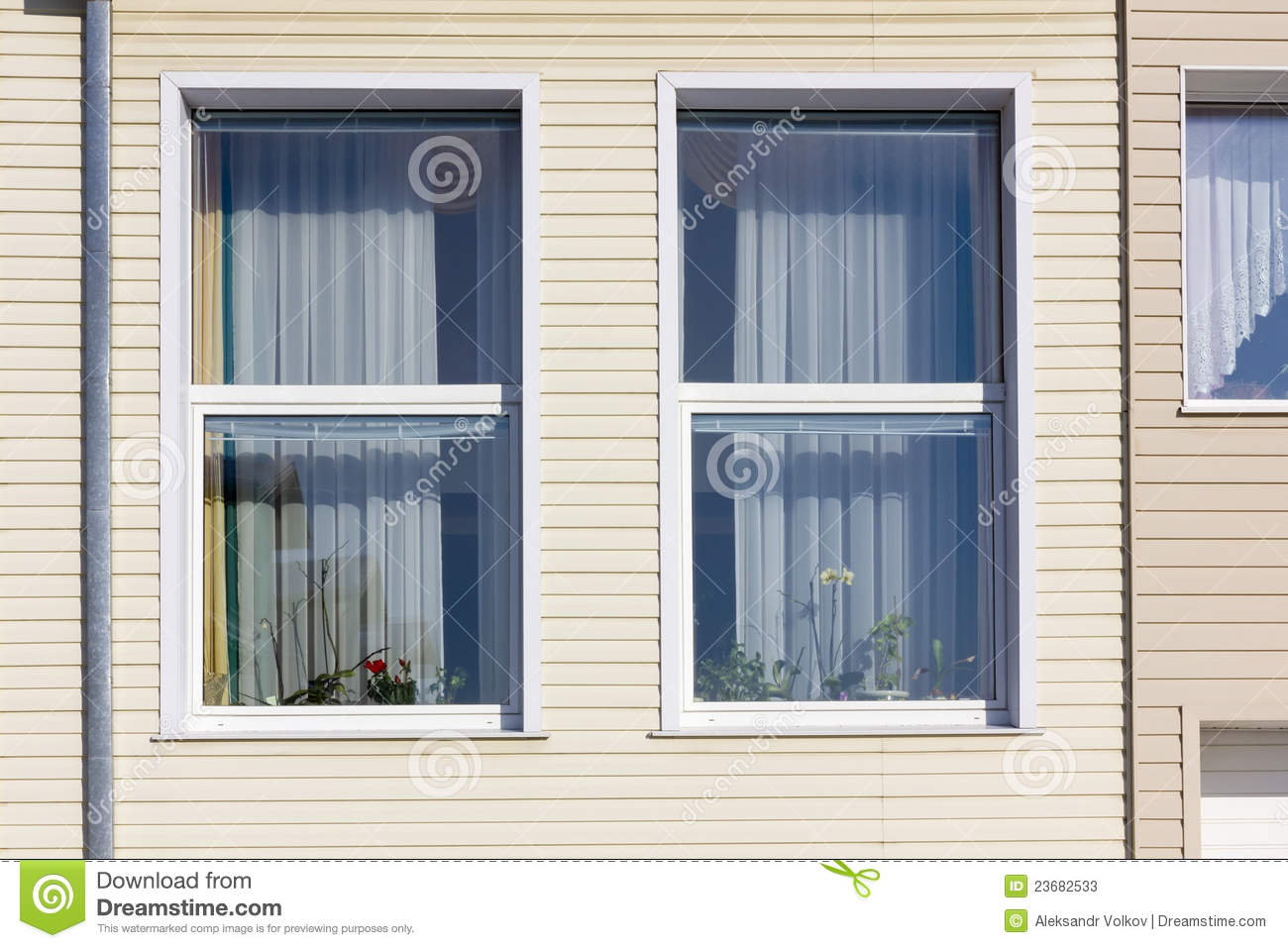 Pvc Windows For Homes : Standard windows in mass plastic house stock image