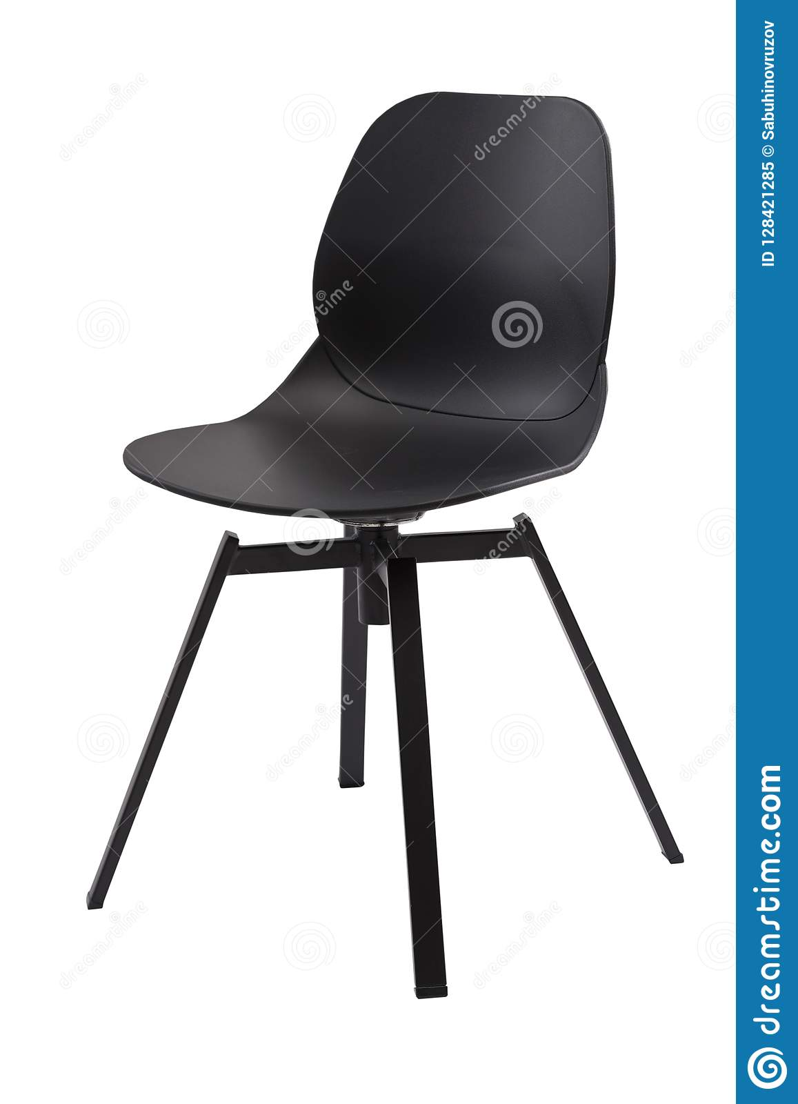 Standart Black Office Plastic Chair Isolated On White. Simple