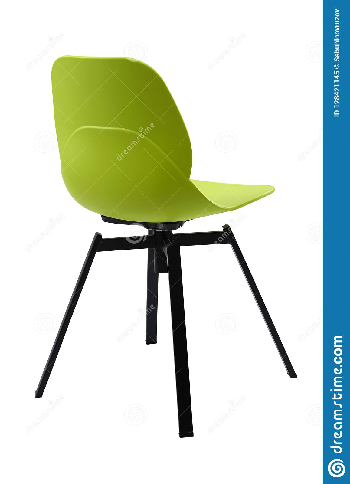 Standart Green Office Plastic Chair Isolated On White. Simple