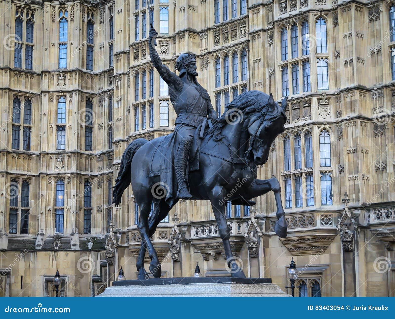 Standbeeld van Richard Lionheart buiten het Huizenparlement, Londen