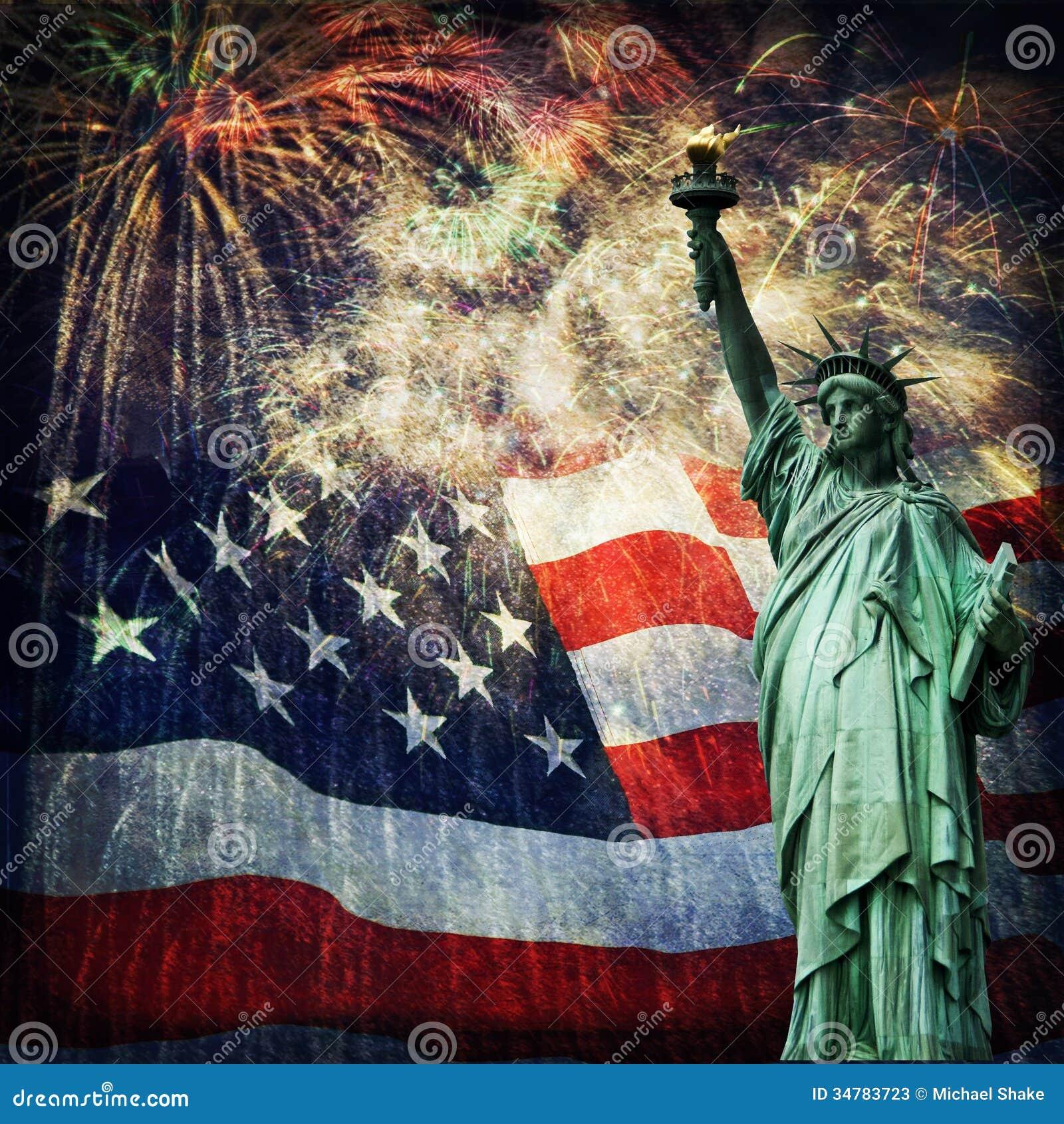 Standbeeld van Vrijheid & Vuurwerk