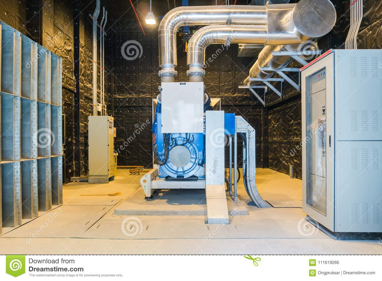 standby power generator or emergency diesel generator unit mounted radiator  and fuel filter system  reduce risk, loss and backup business to protect