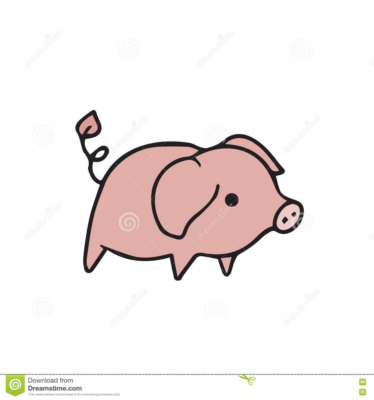 standing alone pig cartoon drawing