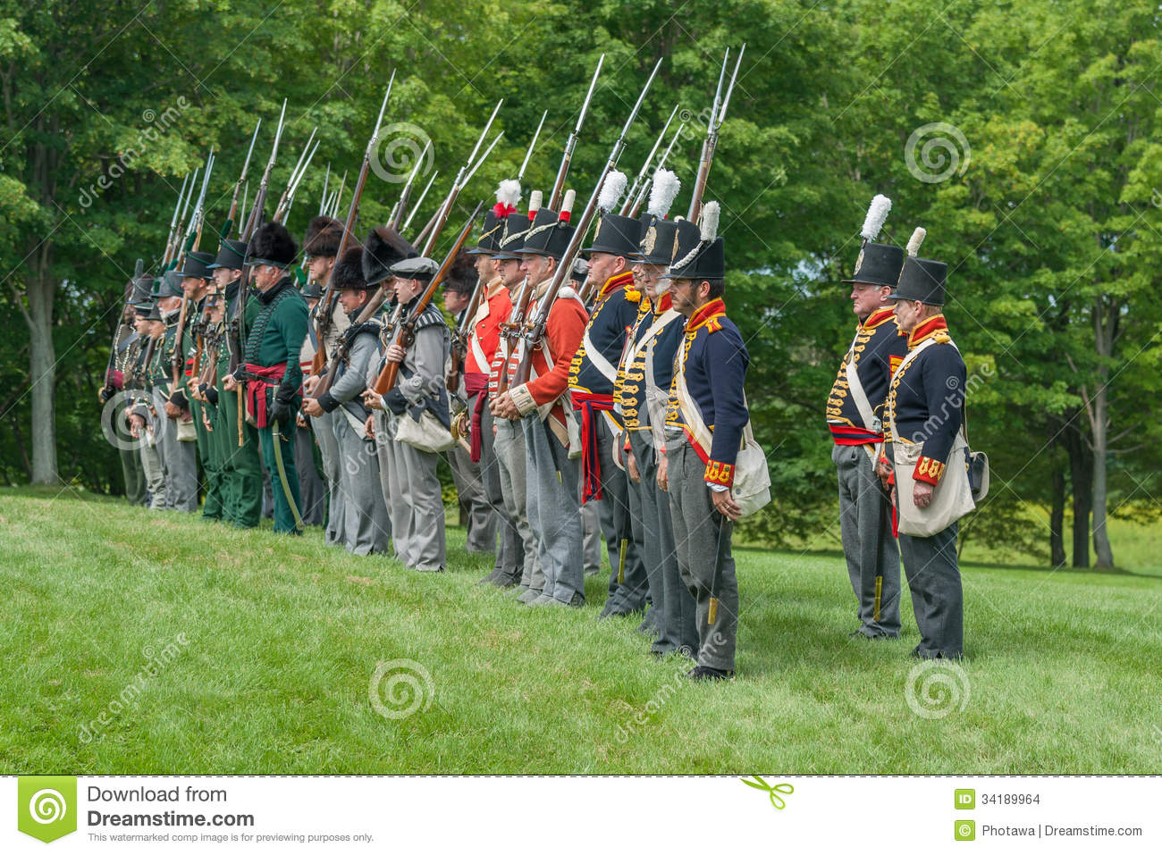 Standing at Attention during War of 1812 Reenactment.