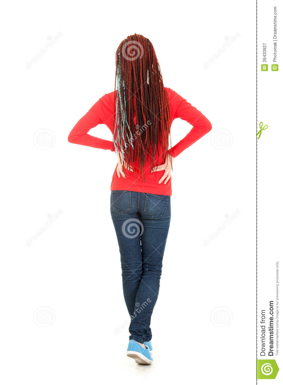 Standing Back Teenage Girl With African Braid Royalty Free