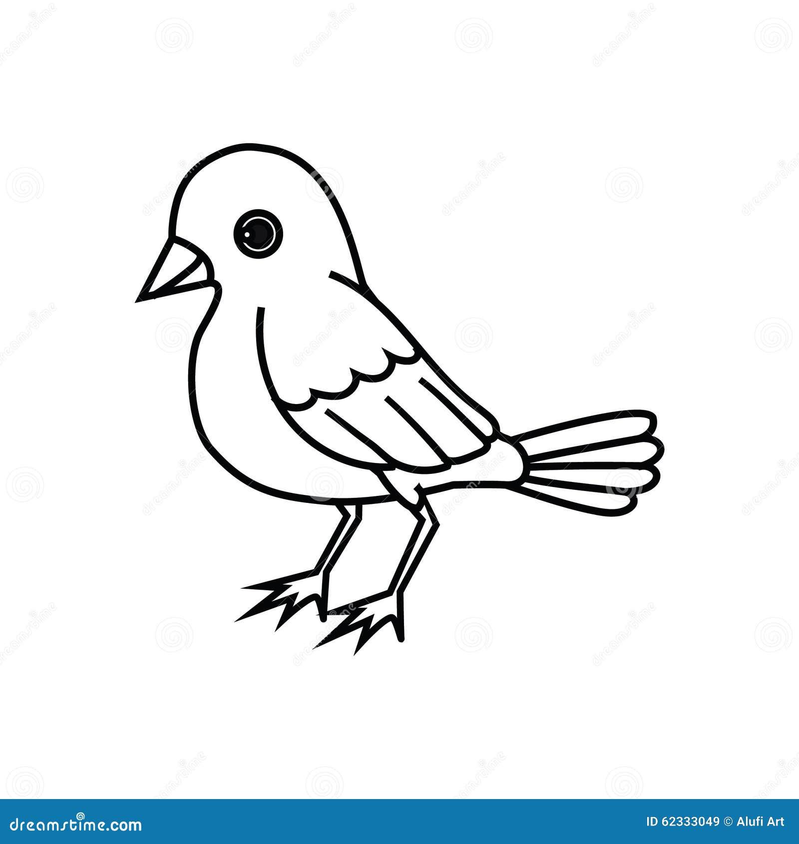 Standing Bird Outline stock vector. Illustration of flutter - 62333049