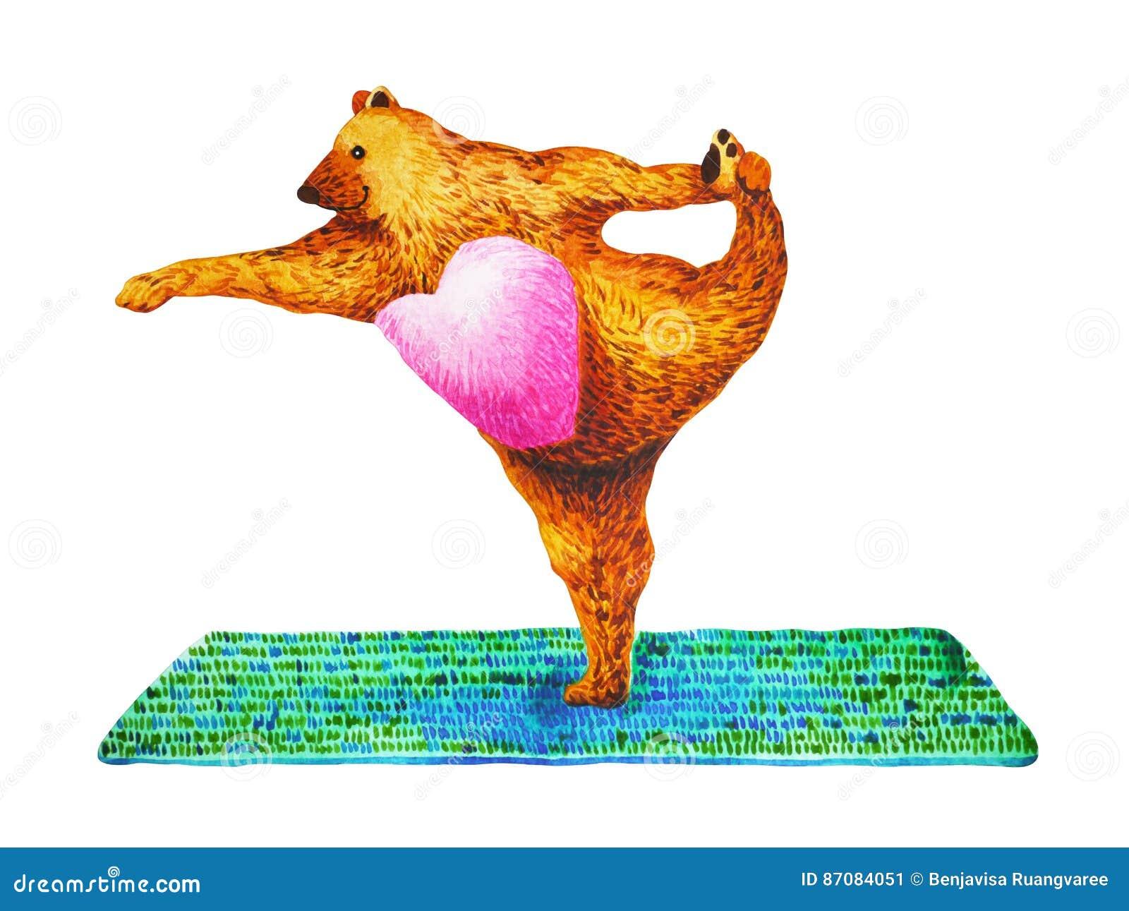 Standing Bow Pulling Pose Yoga : Dandayamana Dhanurasana, watercolor painting