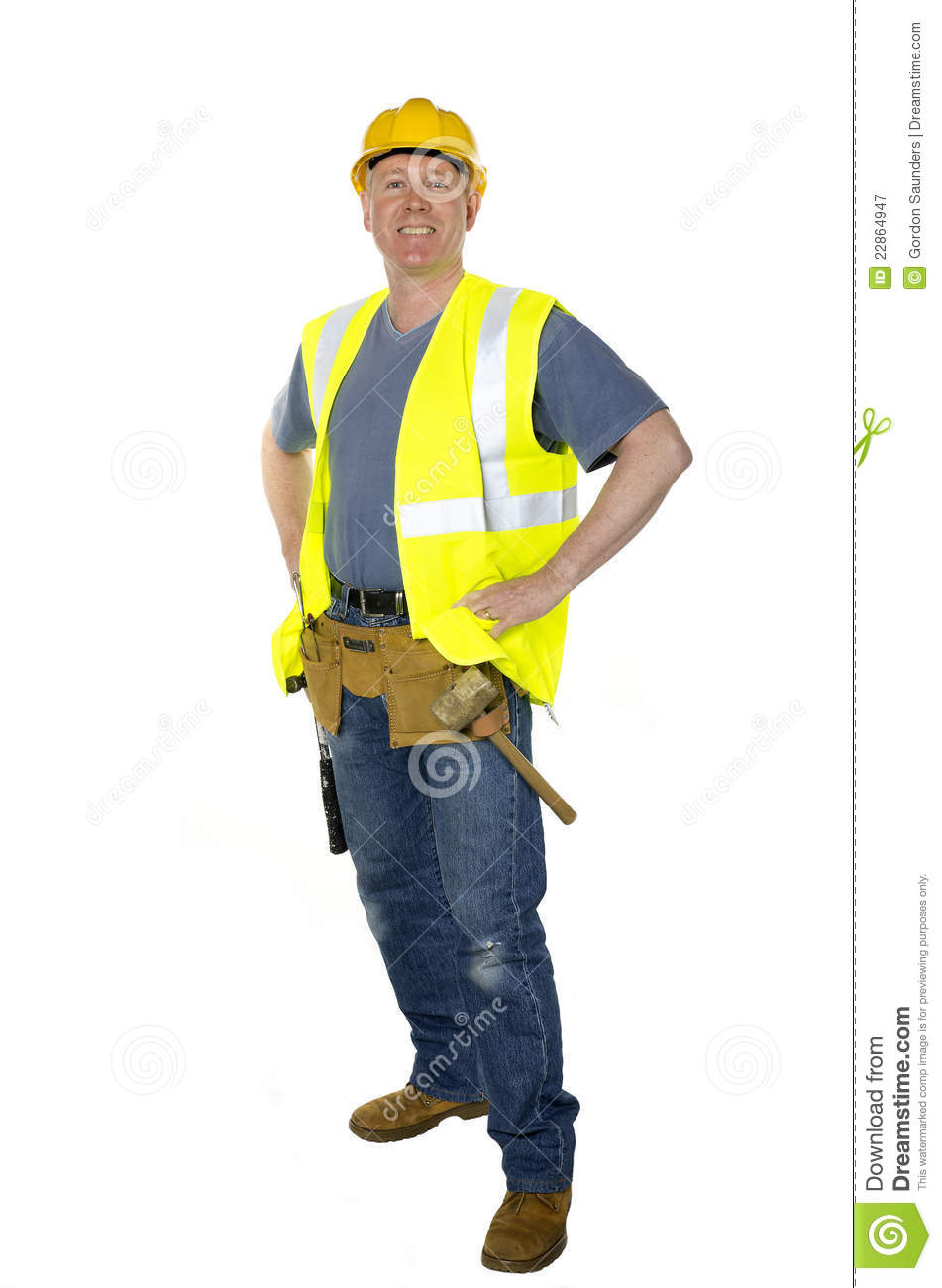 standing confident construction worker stock image image of