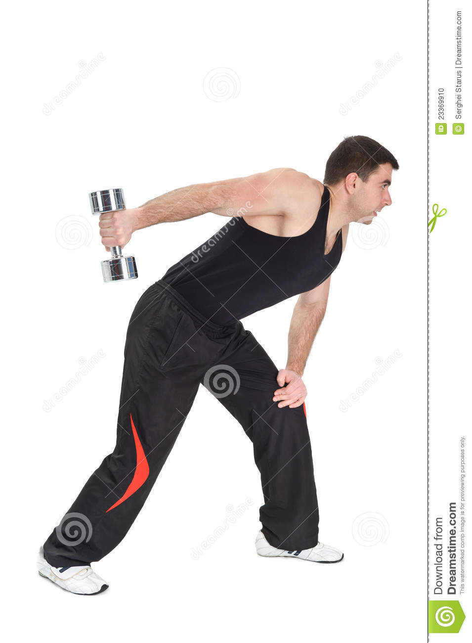 Standing Dumbbell One Arm Triceps Extensions Stock Photo ...