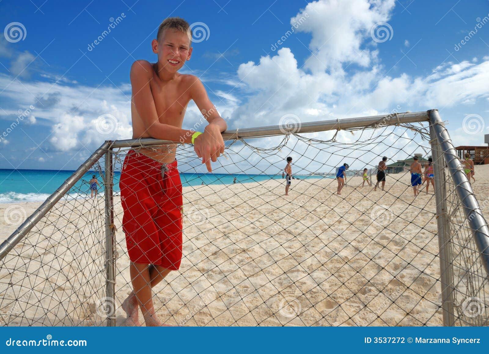 Standing för strandpojkegoalpost