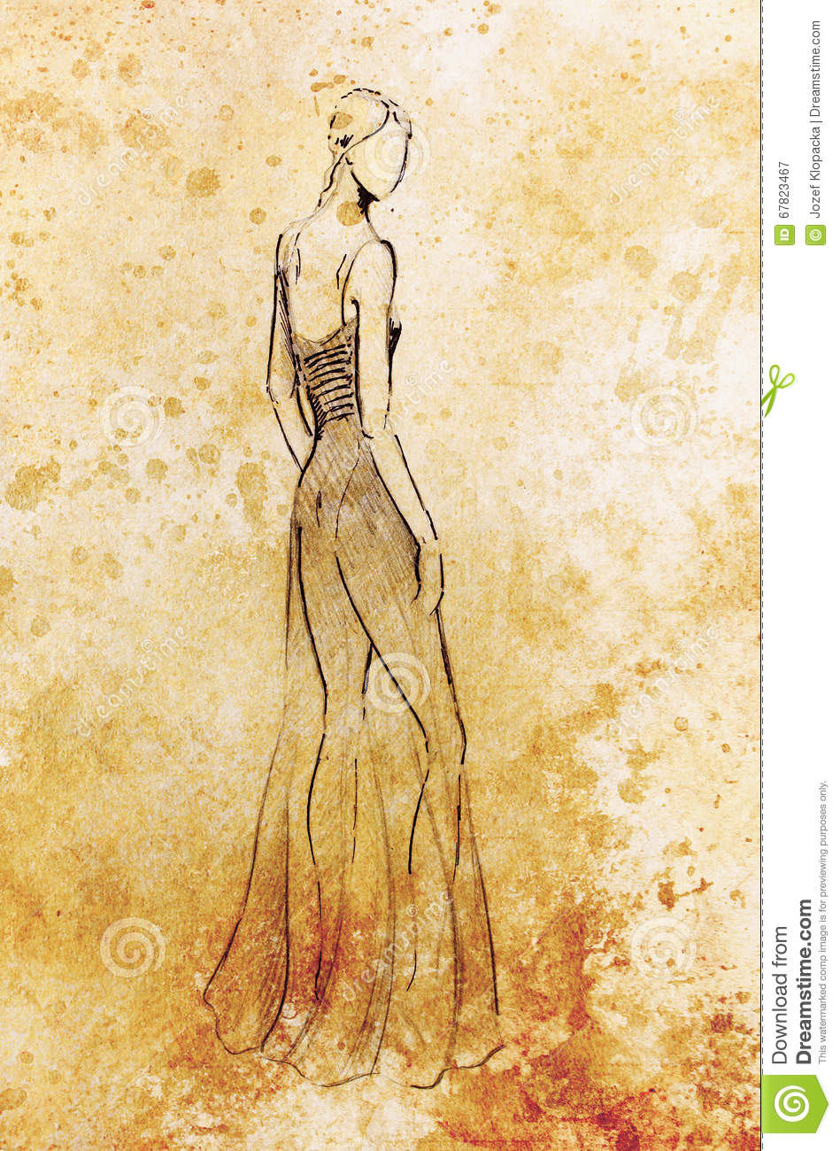 Standing figure woman pencil sketch on paper watercolor background