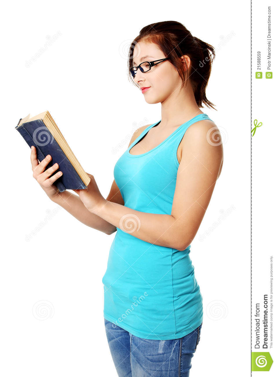 Standing Girl Reading A Book. Stock Image - Image of blond 1b1bb5370
